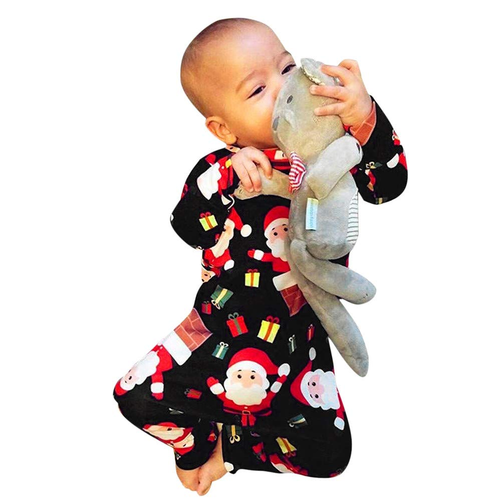 Black Friday Sale Christmas Baby Suit Romper Comfy Jumpsuit Clothes Infant Toddler Boys Girls Pyjamas Outfits LQQSTORE Newborn Winter Nightwear Kids Sleepwear, XMAS Cartoon Santa Outfits