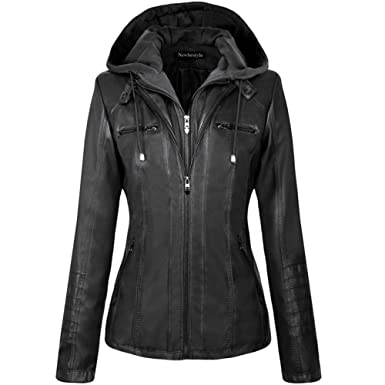 76f63fd99bf Newbestyle Womens Hooded Faux Leather Moto Biker Short Jacket Quilted Zip  Up Coats S-2XL