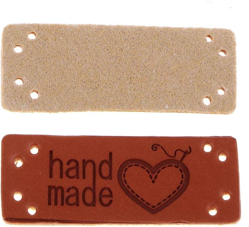 001 Hand Made Webetiketten handgefertigte Textiletiketten DIY Dekor F Fityle 20x Leder Handmade Etiketten