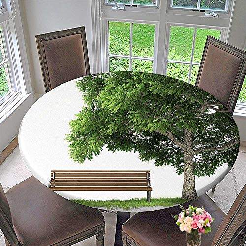 Round Polyester Tablecloth Table Cover Decor Collection Beach Under Oak Tree Outdoor Objects Habitat Grass Foliage Wood Environment for Most Home Decor 35.5