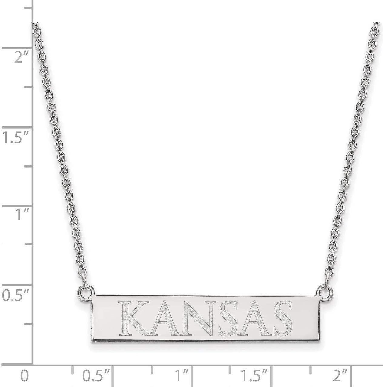 Lex /& Lu LogoArt Sterling Silver The University of Kansas Small Bar Necklace
