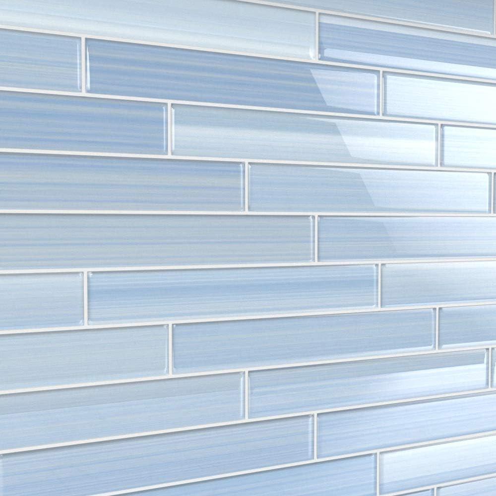 2x12 Big Blue Glass Subway Tile for Kitchen Backsplash or Bathroom//Showers
