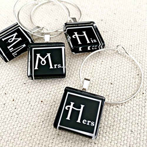 Mr Mrs and His Hers Glass Wine Charms or Party Favors l For Bride and Groom Toasting Flutes or Gift (Groom Design Toasting Flutes)