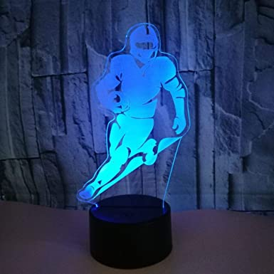 BFMBCHDJ Jugador de rugby Lámpara de mesa 3D colorida Decoración ...