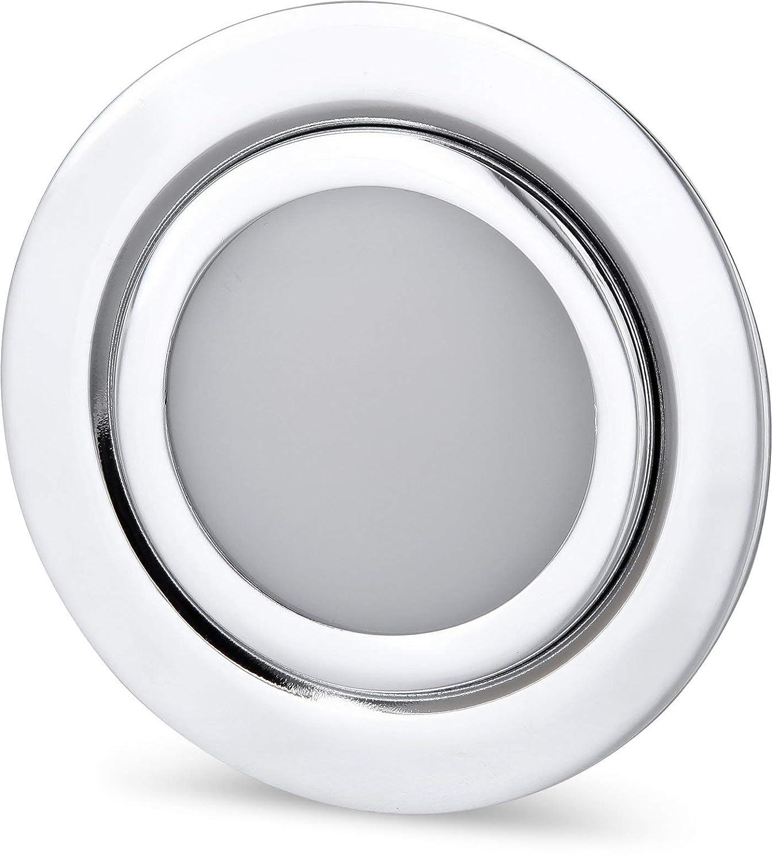 LED Slim Möbel Einbaustrahler Vollmetall IP44 12V - 4W 330lm - passend in Unterputz-Dose Ø 60mm - chrom-glänzend (warmweiß (3000 K)) [Energieklasse A+] HAVA