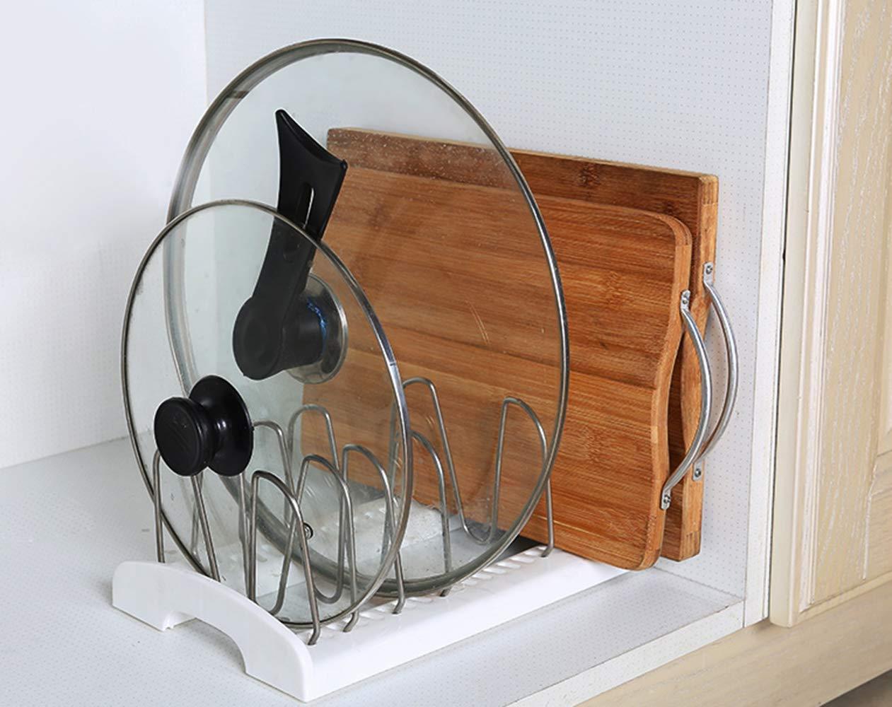 Félibeaco - Organizador ajustable para ollas y sartenes, utensilios de cocina y tablas de cortar, soporte de almacenamiento para cocina, armario, ...