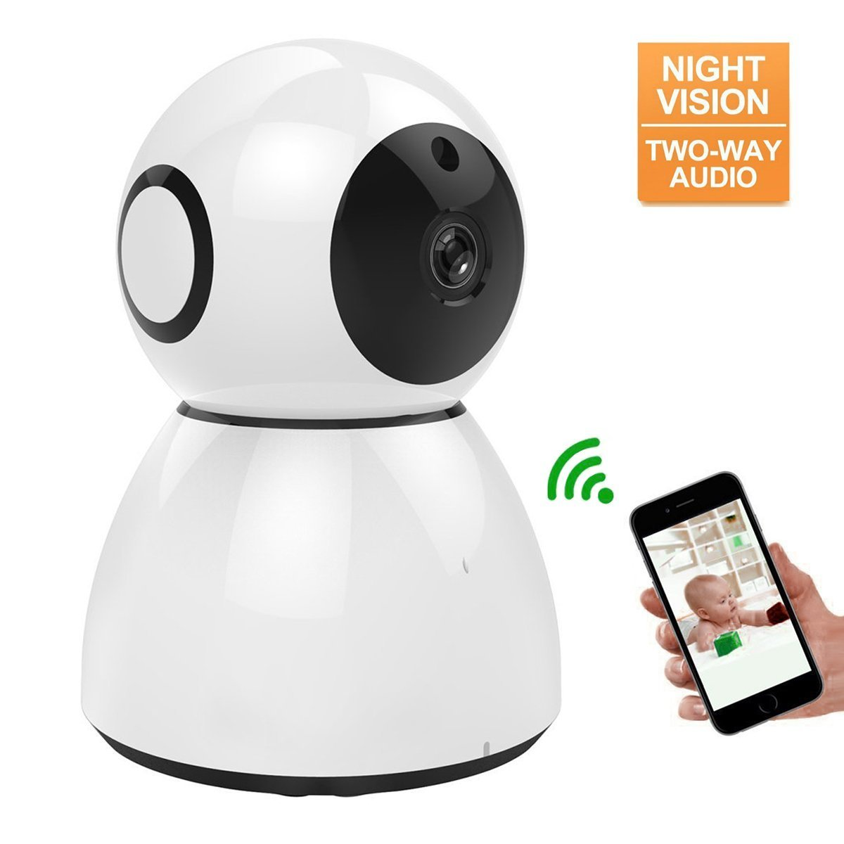 Home Security Camera System, MWAY HD 1080P WiFi IP Camera,2 Way Audio,Night Vision,Indoor/Outdoor Cam for House, Baby, Pet Security white