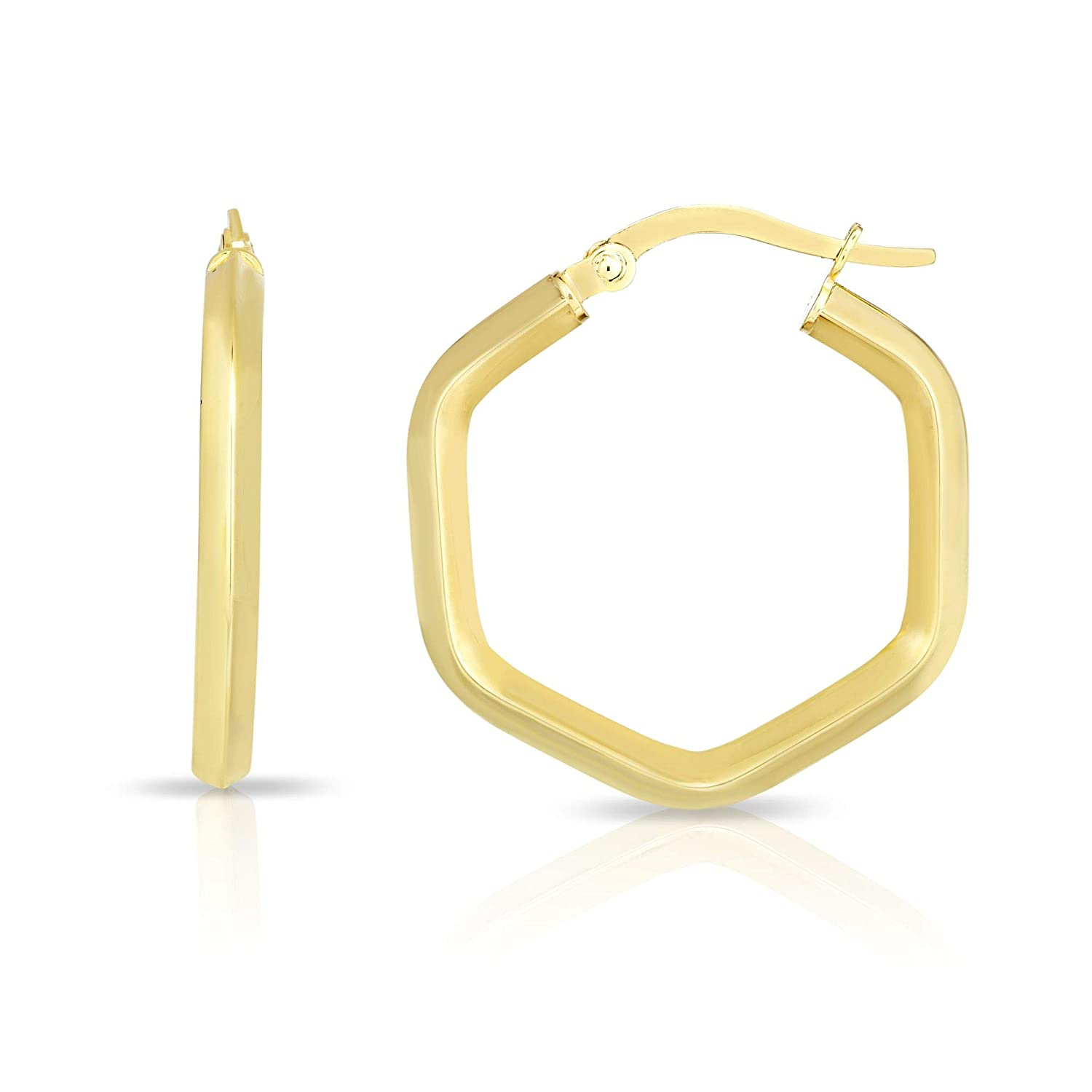14K Yellow Rose or White Gold Finish Shiny Hexagon Hoop Fancy Earrings with Hinged by IcedTime