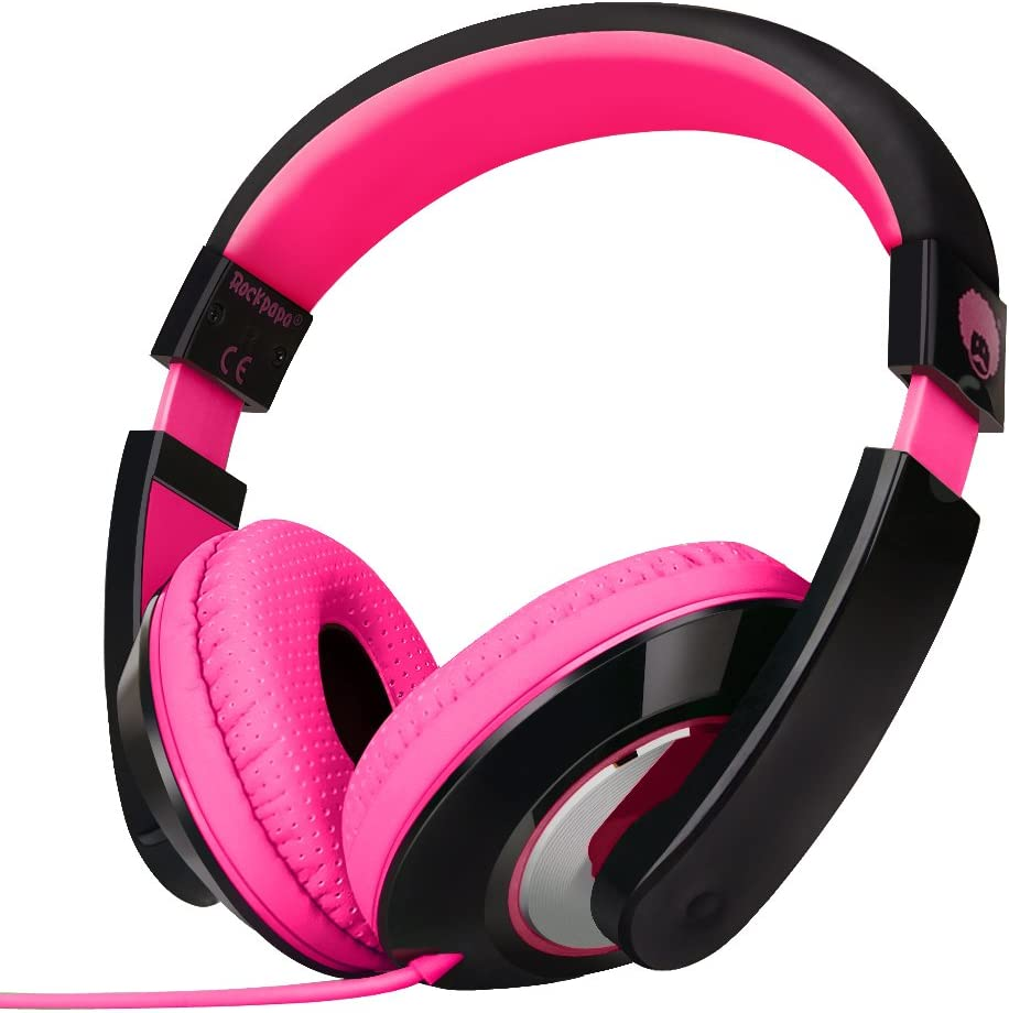 Rockpapa On Ear Stereo Headphones Earphones for Adults Kids Childs Teens, Adjustable, Heavy Deep Bass for iPhone iPod iPad MacBook Surface MP3 DVD Smartphones Laptop (Black/Pink)