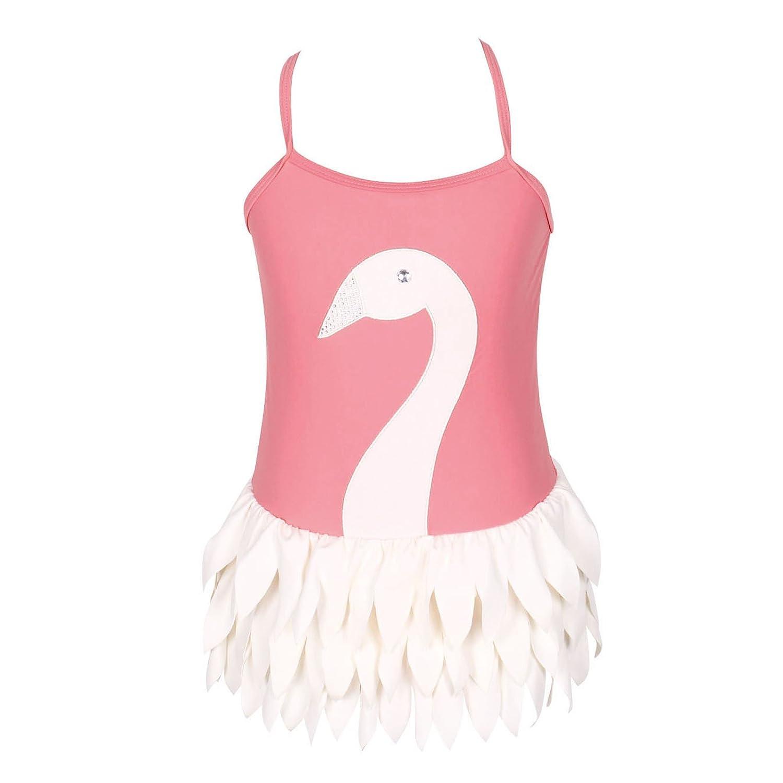 Qyqkfly Girls Swan Adjustable Strap 3Y-12Y One Piece Ballet Swimsuit