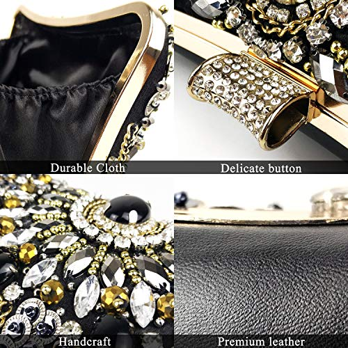 Womens Evening Bag/Clutch,Vintage Handmade Wedding Party Handbag/Purse/PartyBag, Packed in Gift Box(Black-Beaded) by zebrum (Image #5)