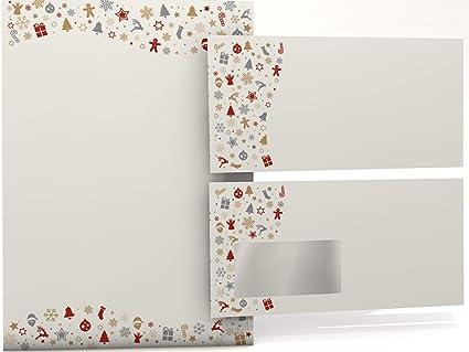 Weihnachts-Briefpapier Set Simply Stars 50 Blatt Motivpapier A4 und 50 Briefumschl/äge OHNE FENSTER
