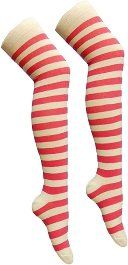 NEW RED AND WHITE STRIPED TIGHTS ADULT FANCY DRESS