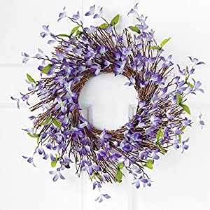 Collections Etc Spring Forsythia Floral Twig Door Wreath - Seasonal Door Accent for Any Room 85