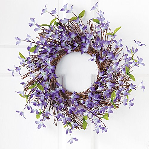 Wreath Twig Spiral - Collections Etc Spring Forsythia Floral Twig Door Wreath - Seasonal Door Accent for Any Room, Lavender