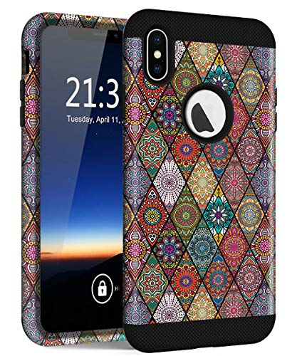 - iPhone Xs Max Case, Hocase Slim Fit Shockproof Protection Hard Plastic Back Cover+Silicone Rubber Hybrid Double Layer Protective Phone Case for iPhone Xs Max 6.5