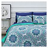 8 Piece Bed-in-a-Bag Comforter Set Includes 1 Comforter, 1 Decorative Pillows, 2 Shams, 4 Piece Sheet Set All-Season Printed Bedding Cotton Comforter Set Hypoallergenic (Tilework, Full)