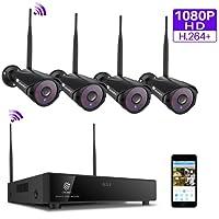 (H.264+) Kit caméras de surveillance sans fil, 4 caméras 1080P WiFi étanches,détection mouvement, vision nocturne, envoi d'alerte email, lecture sur portable et PC, installatino intérieur et extérieur