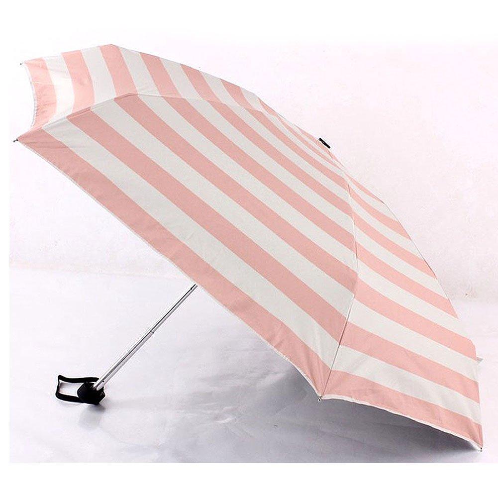 Ultra Lights stripe Small Mini Umbrella ,5 Folding Compact Pocket Umbrella (Pink)