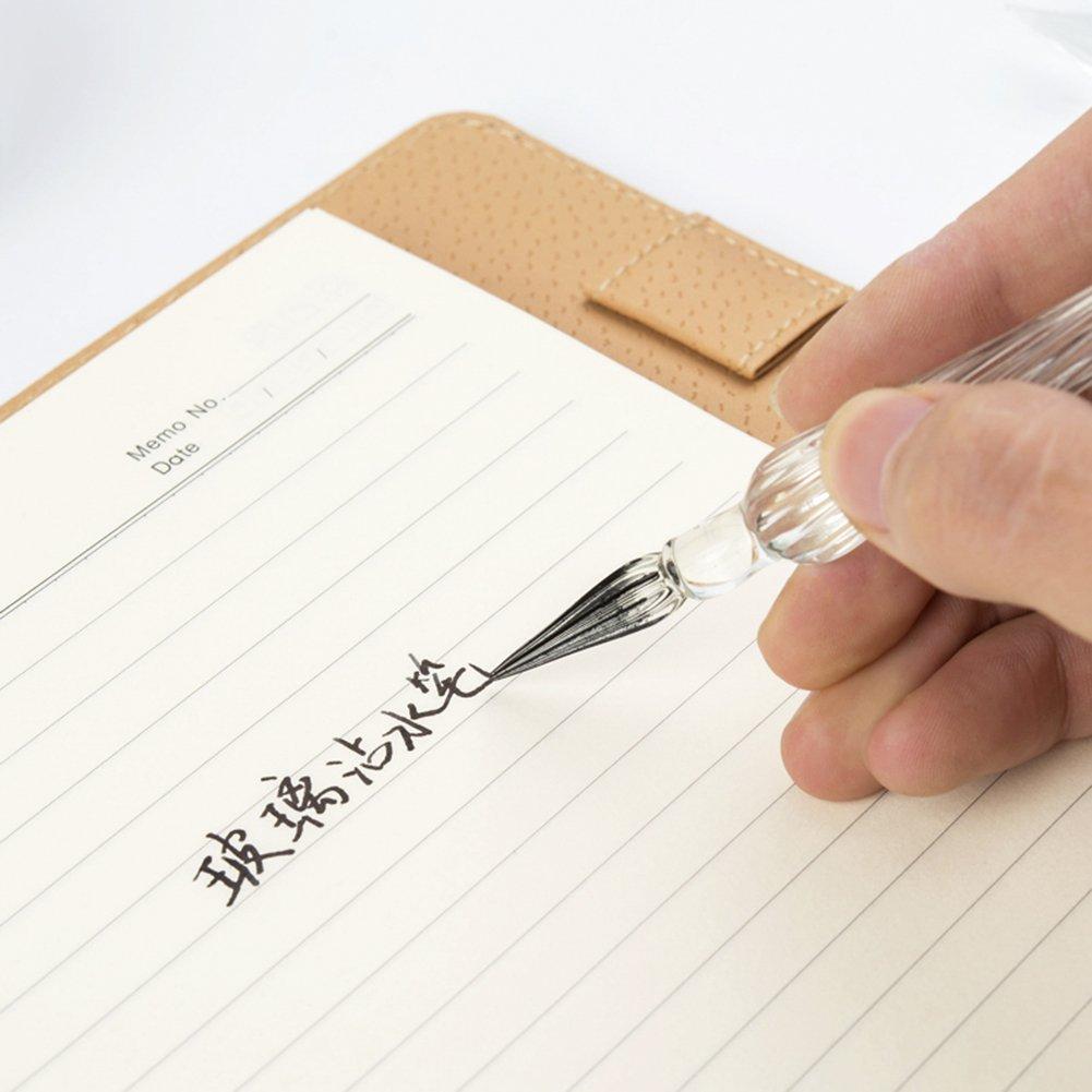 Gift Package Crystal Glass Dip Pen Glass Signature Pen Vintage Handmade Glass Elegant Crystal Dip Sign Gift Pen Brown