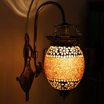Earthenmetal Handcrafted Flower Bud Shaped Hanging Wall Lamp/Light With Metal Fitting