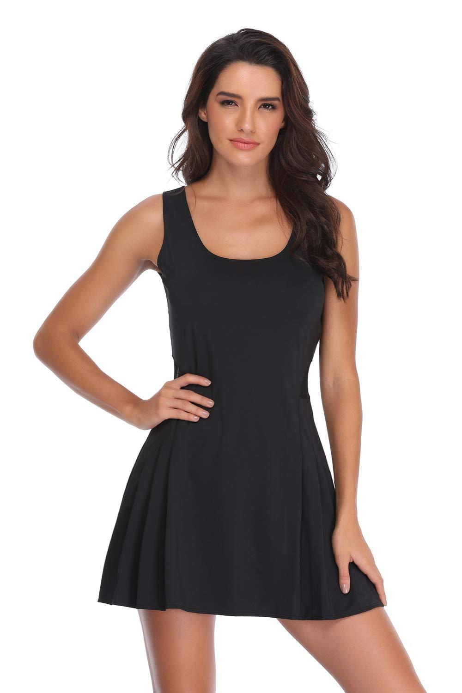 Women's Sleeveless Dress with Mesh Design A-line Flared Tank Dress for Girls-km