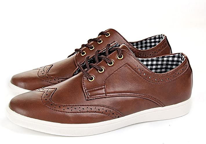 Mens Casual Smart Leather Lace Up Trainers Brogue Shoes Plimsolls UK Sizes 7 11
