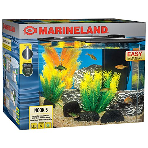 MarineLand Nook Aquarium Kit with Built-in LEDs and Hidden Filtration ()