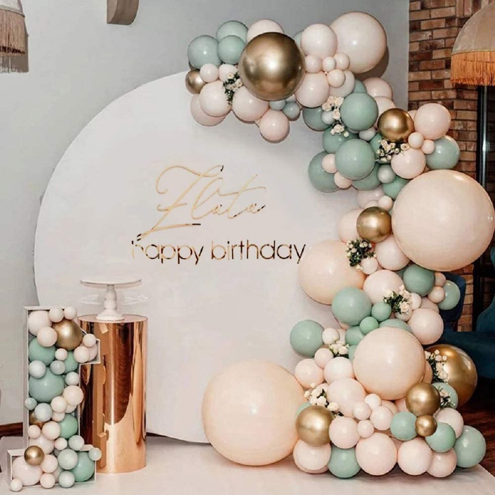 Topico 117 PCS Sage Olive Green Balloons Decor, Improved Design Sage Green Peach Blush Gold Balloon Garland Arch Kit, Jungle Safari Tropical for Baby Shower Wedding Birthday Theme Party Decorations Supplies