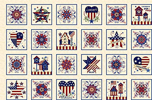 Land That I Love Patriotic Blocks Panel by Color Principle Collection from Henry Glass 100% Cotton Quilt Fabric 2257-33 - 24
