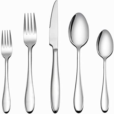 Amazon Com Lianyu Flatware Set 40 Piece Silverware Set Stainless Steel Home Kitchen Hotel Restaurant Tableware Cutlery Set Service For 8 Mirror Finished Dishwasher Safe Flatware Sets