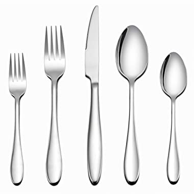LIANYU 60-Piece Silverware Flatware Set for 12, Stainless Steel Home Kitchen Hotel Restaurant Cutlery Set, Eating Utensils, Mirror Finished, Dishwasher Safe