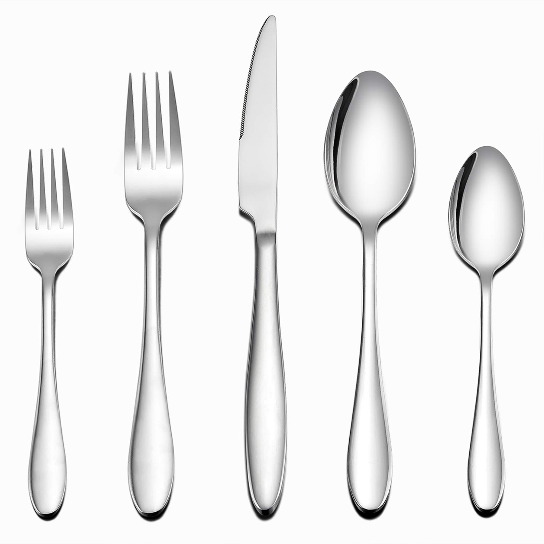 LIANYU 60-Piece Silverware Flatware Set for 12, Stainless Steel Home Kitchen Hotel Restaurant Cutlery Set, Eating Utensils, Mirror Finished, Dishwasher Safe