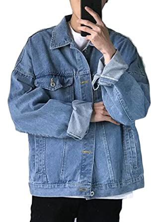 a417ea188bf UUYUK-Men Baggy Distressed Long Sleeve Lapel Denim Jean Jacket at Amazon  Men's Clothing store: