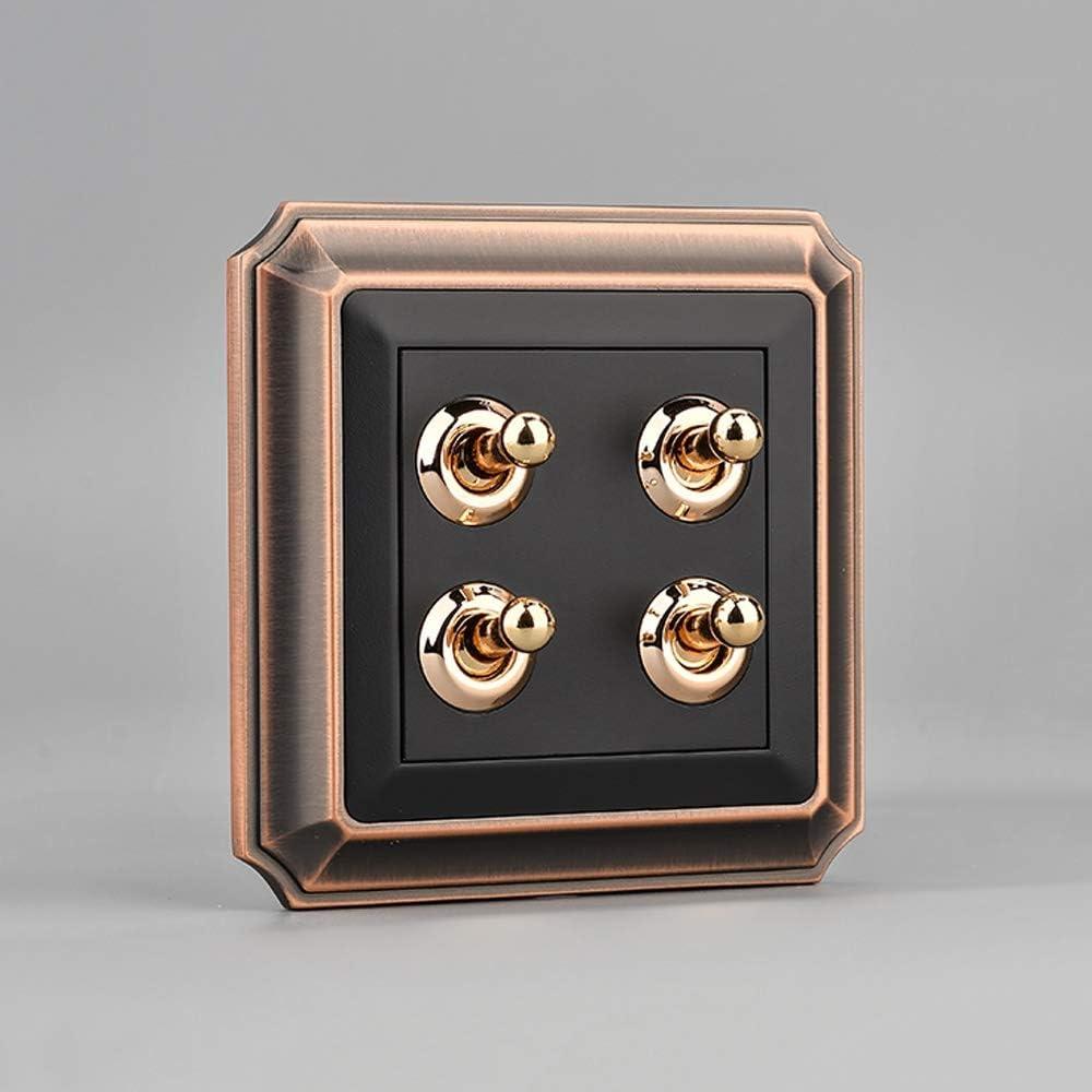 Ploutne Interruptor de aleaci/ón de zinc de bronce cepillado Panel Europea retro estilo loft palanca del interruptor anti-desgaste y duradero Interruptor Home Hotel Oficina de interruptor de pared simp