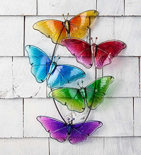 Colorful Watercolor Multi Butterfly Glass Wall Art Decor