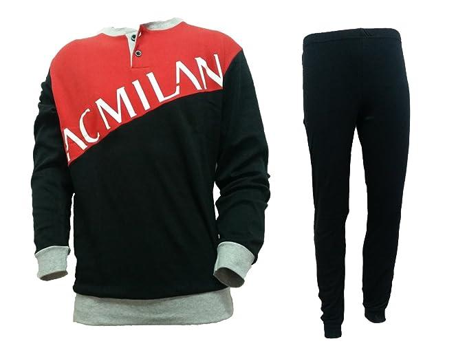 f2283cd27fb3 pigiama uomo lungo caldo cotone ac MILAN prodotto ufficiale art. MI14061 (S,  nero): Amazon.it: Abbigliamento