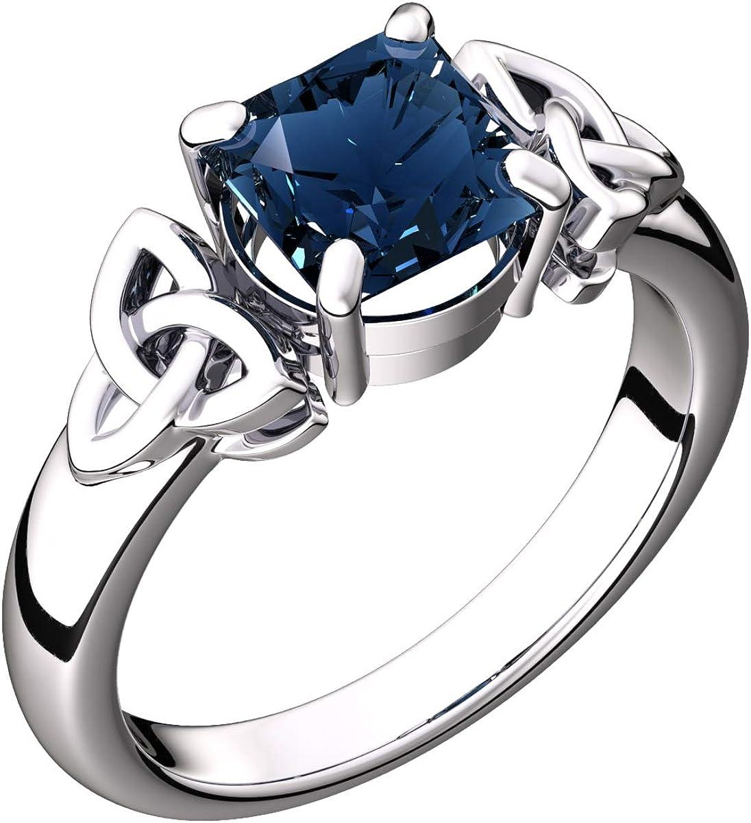 GWG Jewellery Anillos Mujer Regalo Anillo Celta Plata de Ley Circonita Cuadrado Grande de Color Zafiro Azul Adornado con Nudos de Trinidad para Mujeres