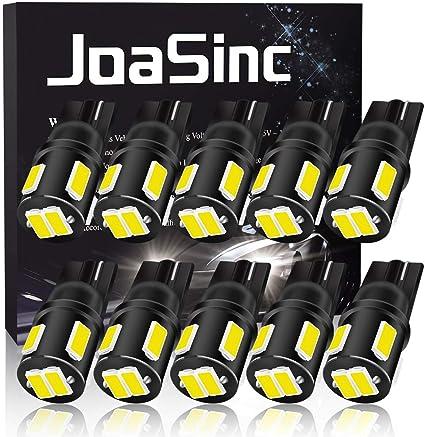 JoaSinc Ampoule W5W LED T10 501 194 168 LED de Voiture Lampe 6SMD 5630 LED Ampoules pour Lumi/ère D/ôme C/ôt/é Carte Feux de Plaque dimmatriculation 12V 10PCS