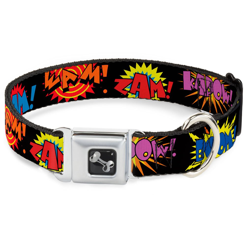 Buckle-Down Seatbelt Buckle Dog Collar Sound Effects Black Multi color 1  Wide Fits 9-15  Neck Small