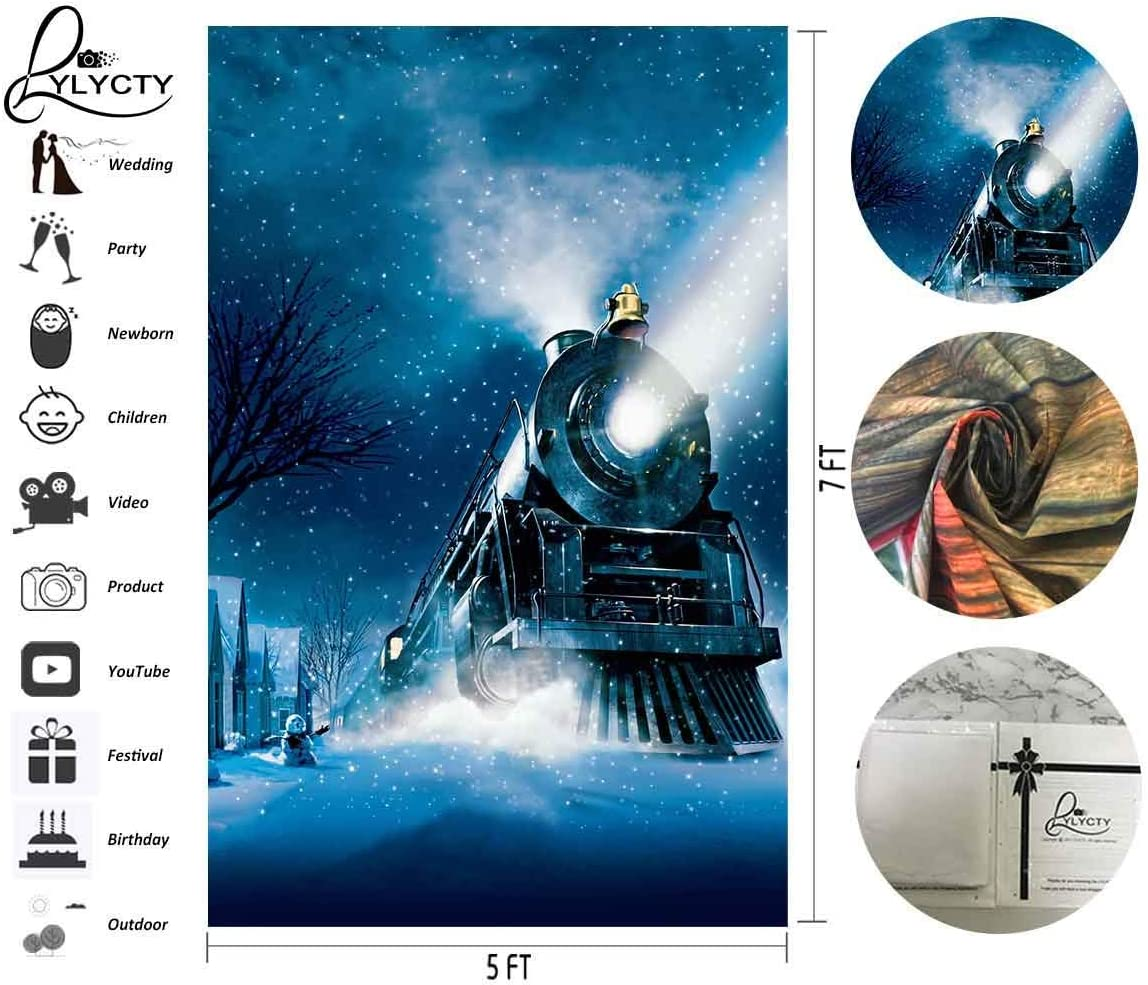 6x4ft Vinyl Cartoon SteamTrain Background Snowy Night Snow Man Scene for Film and Television Shooting Features Childrens Background Props LYHX121 for Party Decoration Birthday YouTube Videos School P
