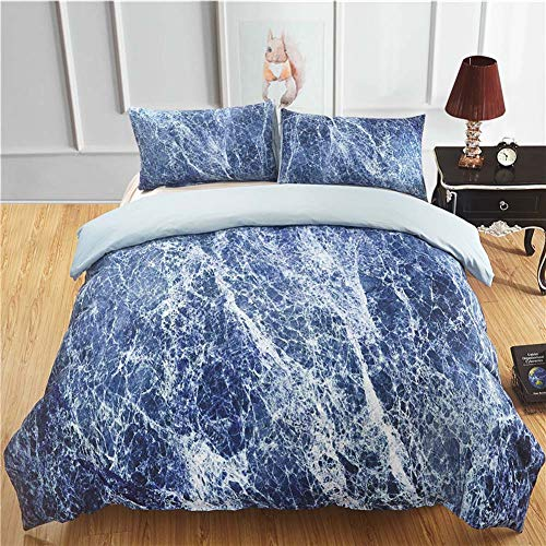 MRXUE Halloween Duvet Cover Set Bedding 3 Pcs 100% Polyester King Size - 90Gsm Fine-Twill Microfiber Fabric Washed Cotton - Ultra Soft Hypoallergenic Bluestone,Ukqueen -