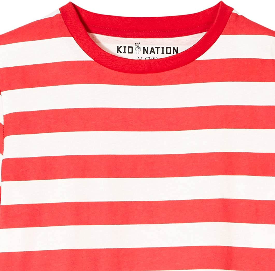 Kid Nation Kids 2-Pack 100/% Cotton Tag-Free Short Sleeve Jersey Crewneck T-Shirt for Boys or Girls