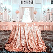 Father's Day Promotion!Diameter 48'' Round Rose Gold Sequin Tablecloths, Rose Gold Sequin Round Table cloths, Rose Gold Sequin Table linens for Wedding