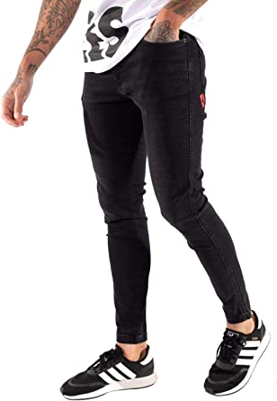 11 Degrees Essential Pantalones Vaqueros Ajustados Para Hombre Color Negro Negro Jet Black Wash 34 Amazon Es Ropa Y Accesorios