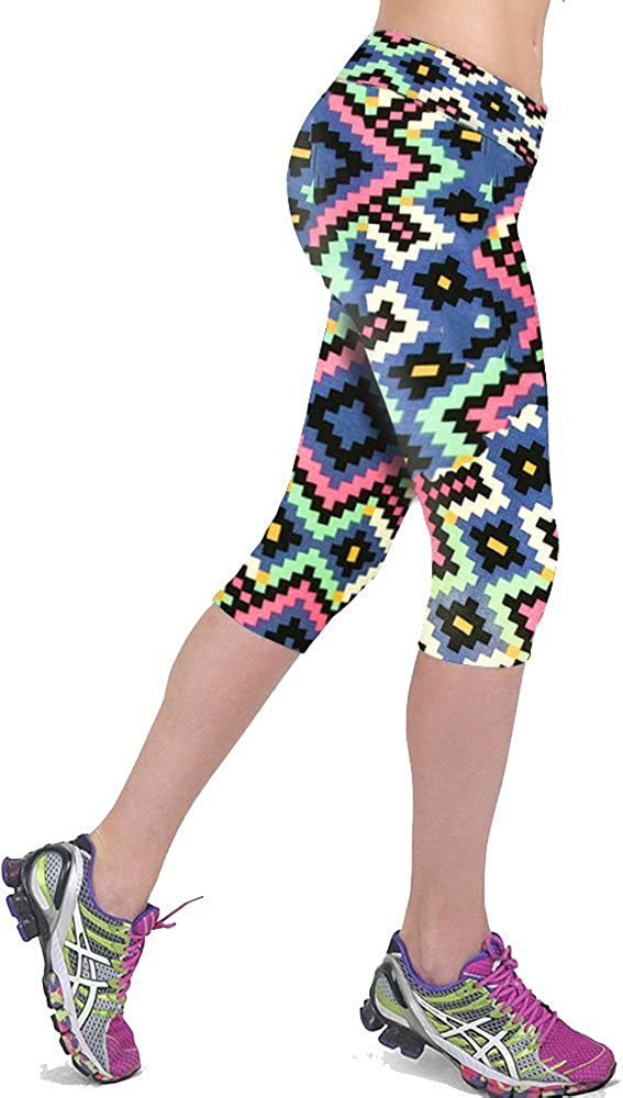 WAYNE FINKELSTEIN Womens Printed Active Workout Capri Leggings Outfit Stretch Tights