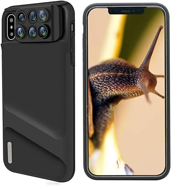 Amazon Com Iphone Xs Max Lens 6 In 1 Dual Phone Camera Lens Kit 180 Degree Fisheye 0 65x Super Wide Angle 10x 20x Macro 2x Telescope Lens With Phone Protective Case Cover