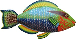 Mayrich Metal Parrot Fish Wall Art, Colorful Contemporary Summer Beach House Décor Accessory