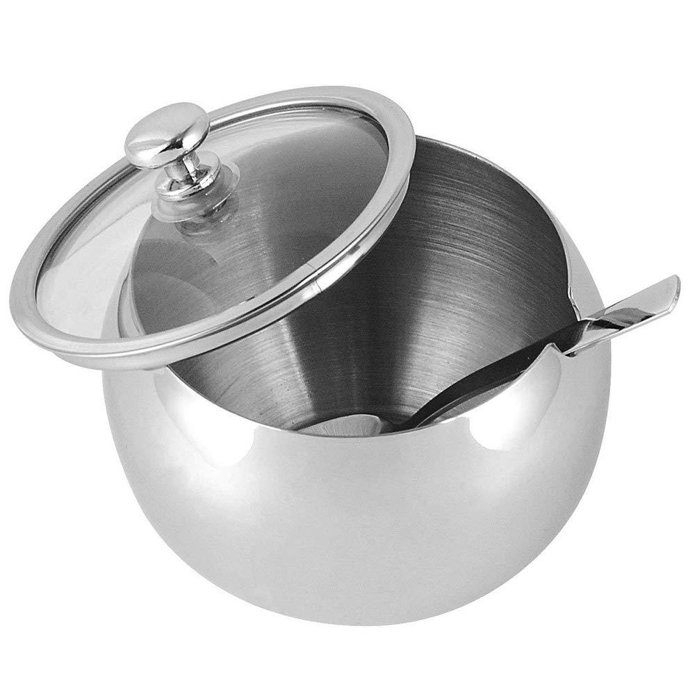 300 ml FJROnline Petit Sucrier en acier inoxydable avec couvercle transparent et cuill/ère pour cuisine design simple
