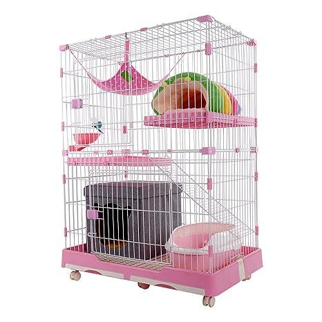 DZLA Jaula para Gatos Gato casa con 3 Niveles Jaula para Mascotas ...